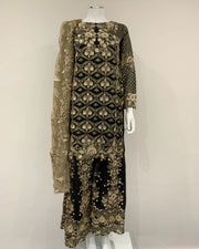 Ladies Black Kameez with Embroidered Sharara