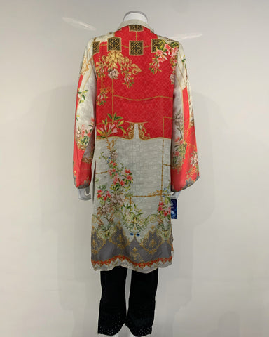 RAFIA Digital Print Silk Kurta