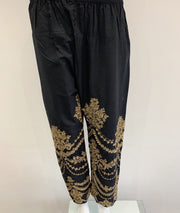 Black Full Embroidered Trousers