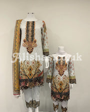 Girls Off White Digital Lawn Suit