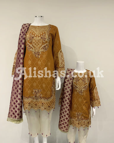 Burnt Orange Ladies Premium Fancy Jacquard Contrast Suit