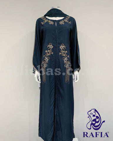 RAFIA Zink Embroidered Jacket Style Abaya with Chiffon Dupatta