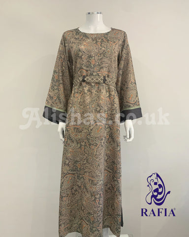 RAFIA Grey Digital Print Abaya