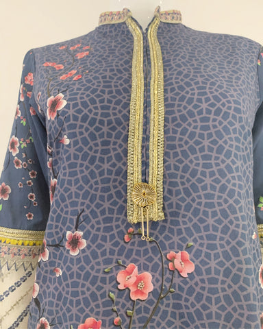 RAFIA Blue Printed Suit