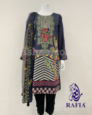 RAFIA Digital Print Cotton Suit with Chiffon Sleeves
