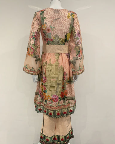 Digital Print Lawn Peach Peplum Suit