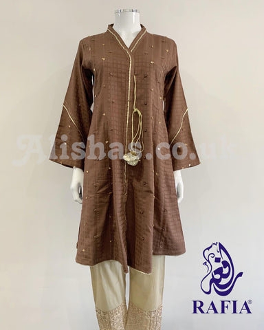 RAFIA Brown Peplum Fancy Jacquard Kurta