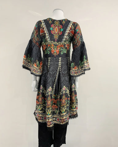Black Embroidered Dipped Hem Dress Suit