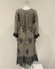 Grey Long Chiffon Girls Dress