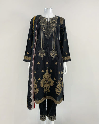 Black Block Print Tassle Lawn Suit