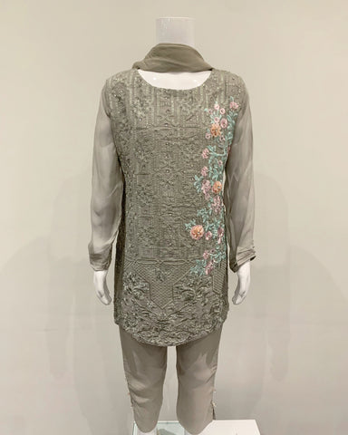 Grey Girls Chiffon Suit