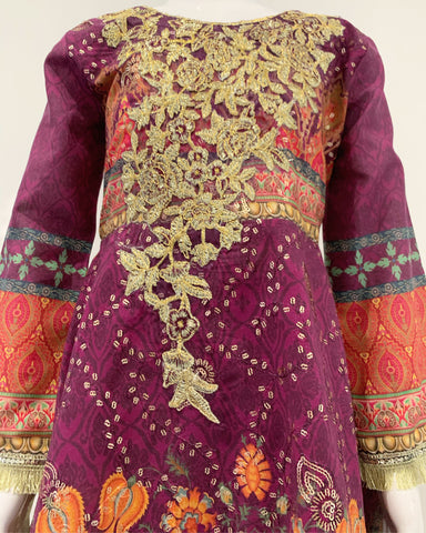 TEHZEEB Girls Lawn Frock Suit