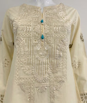 Cream Embroidered Curved Kurta
