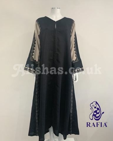 RAFIA Black and Beige Contrast Jacket Abaya