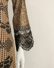 Tan and Black Embroidered Trouser Lawn Suit