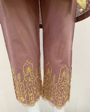 Pink Cotton Embroidered Flary Suit