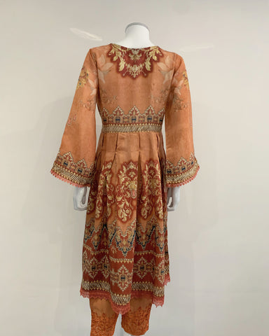 Burnt Orange Digital Print Dress Suit