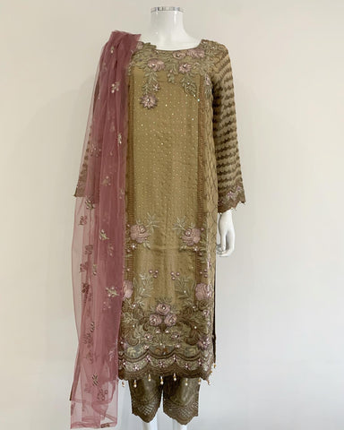 Ladies Chiffon Kameez with Contrast Net Duppata