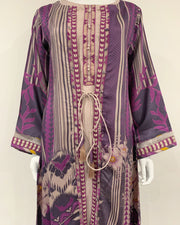 RAFIA Designer Purple Digital Print 4pc Jacket Gown