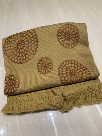 Wool Embroidered Shawl - Beige