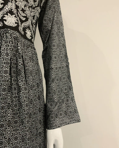 Black Block Print Embroidered Dress Suit