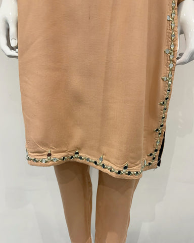 Nude Warm Marina Suit with Embroidered Wool Shawl