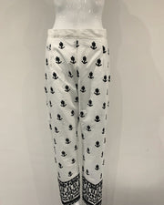 Black and White Embroidered Trousers