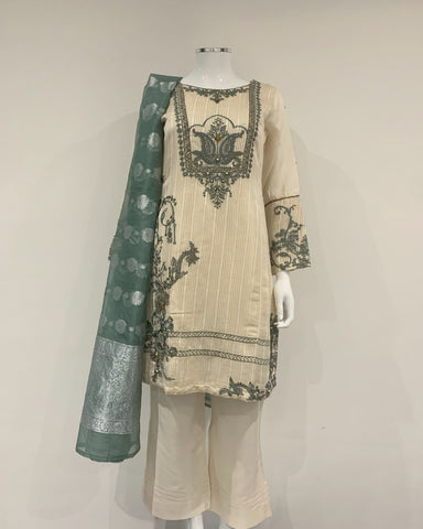 RAFIA Designer Off White Embroidered Kameez Suit