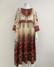Cream and Maroon Contrast Digital Print Dress Suit