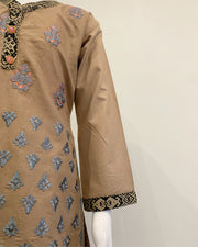 Brown Girls Embroidered Cotton Suit
