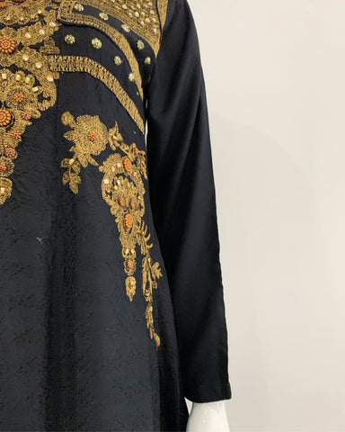 Black Fancy Embroidered Mirror Dress Suit