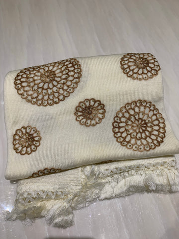 Wool Embroidered Shawl - Off White