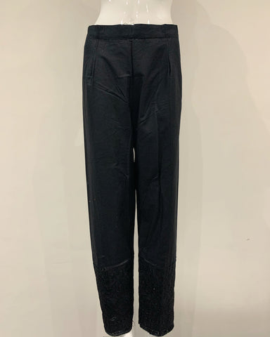 Black Embroidered Tassle Trousers