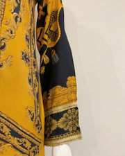 Mustard Luxury Linen Printed Kameez Suit