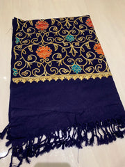 Large Embroidered Shawl - Navy Blue