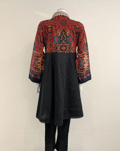 Black Heavy Embroidered Peplum Kurta