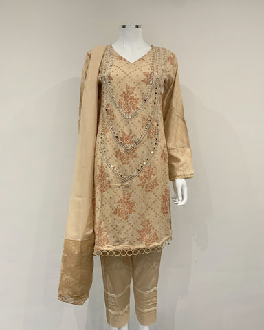 Mirror Embroidered Linen Suit