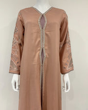 RAFIA Peach Embroidered Jacket Gown