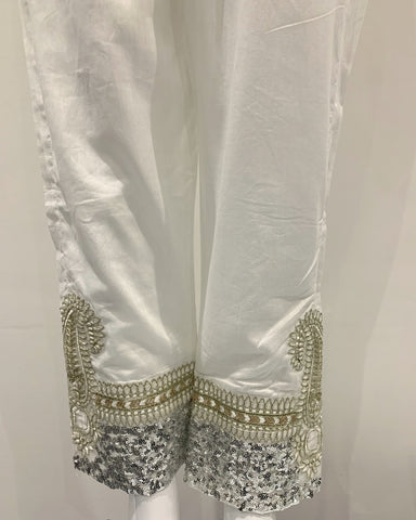 White Sequin Trousers