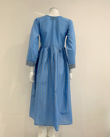 Light Blue Embroidered Cotton Dress Kurta
