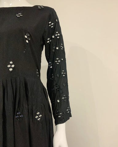 Black Long Linen Mirror Dress Kurta