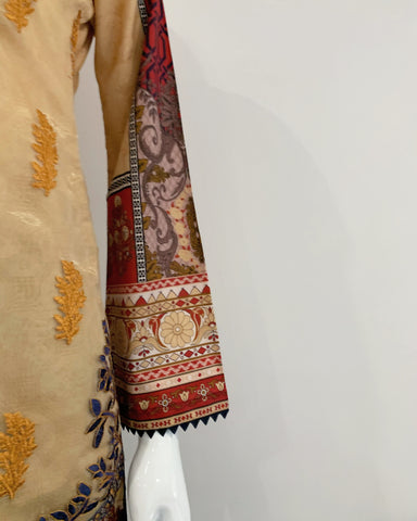Gold Embroidered Lawn Organza Suit