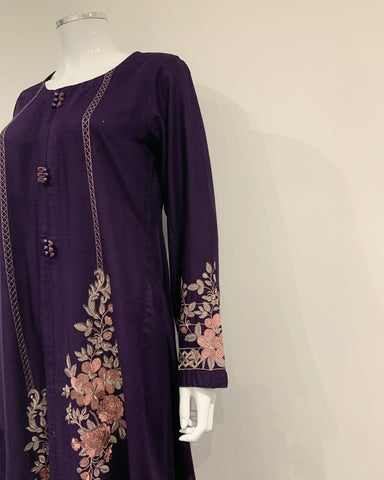 RAFIA Designer Plum Embroidered Gown