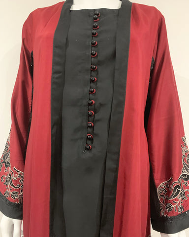 RAFIA Designer Maroon and Black Contrast 4pc Jacket Gown