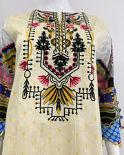 Cream Embroidered Lawn Suit