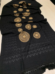 Wool Embroidered Shawl - Black