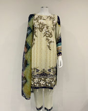 Jannah Designer Linen Embroidered Suit