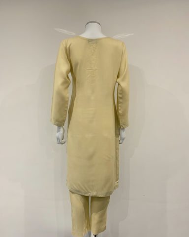 Cream Warm Marina Suit with Embroidered Wool Shawl
