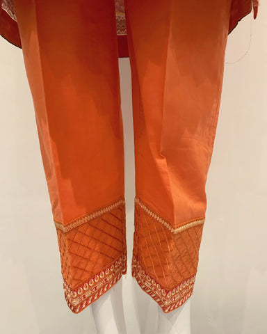 Orange Embezzled Embroidered Kameez Lawn Suit