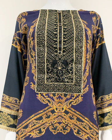 Navy Blue Luxury Linen Printed Kameez Suit